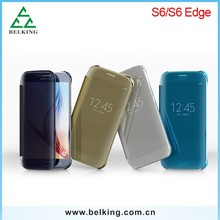 2015 New style Mirror plane Flip cover for Samsung Galaxy S6 G9200, for Samsung galaxy S6 leather case