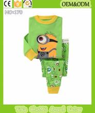 2015 new baby minions pajamas sets kids despicable me pijamas children green minions sleepwear 100%cotton long sleeve nightwear