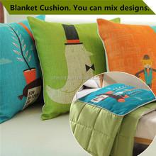 Custom sofa decorative backrest mix cartoon anime design quilt in cushion blanket cushion