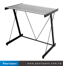 modern metal and tempered glass table top display reception desk