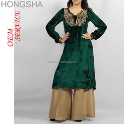 Ladies Kurta Pakistan Style Pakistani Ladies Dresses Velvet Kurti HSD1506