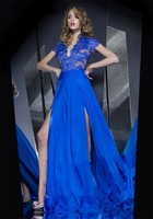Sexy V-Neck Fashion Blue Lace Appliques Chiffon arabic evening dress FXL-817