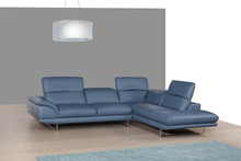 JR9110 alibaba hot sale Modern Italy blue full genuine cow leather recliner sofa set living room soft corner sofa couch set