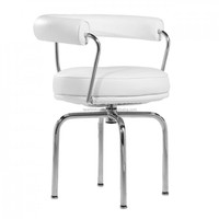 Living room white swivel chair with stainless steel frame