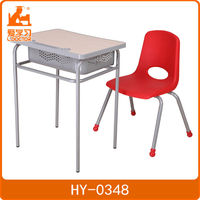 Frame is steel tube cheap school chair with desk