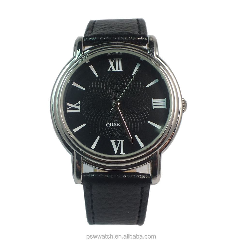 classic black dial quartz watch man wholesale leather wrist watch