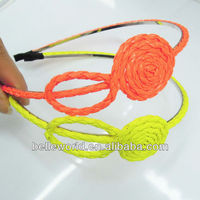 glamorous braid neon color rose flower hairband