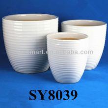 White glazed ceramic pots large planter