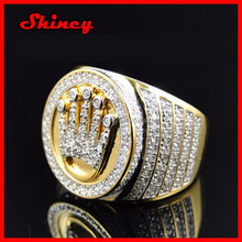 925 sterling silver 2.23carat rose gold plating 2014 fashion high quality factory OEM hip hop men's ring
