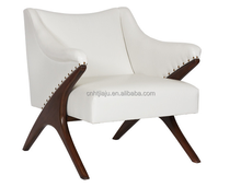 Hot Sale New Design Modern Living Room Leather and Wood Arm Chair