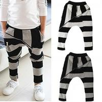 d95609t fashion children's stripe harem pants children's boys cotton trousers with zipper
