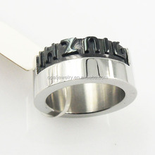 Wholesale US Size 5#~11# Rock On Custom Stainless Steel Rings With Black Acrylic