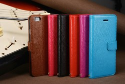 Genuine cowhide flip Leather case for iphone 6
