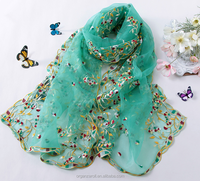 China supplier light green embroidery polyester organza fabric for scarf