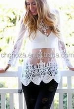 Z56544A Hot Fashion Ladies Cheap Lace Tops