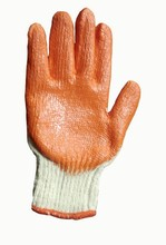 Orange poly cotton lined latex gloves for industrial