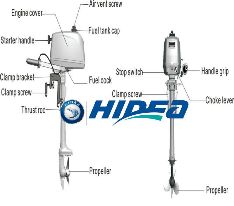 Hidea New Model 2 Stroke 2 5hp Outboard Motor For Sale