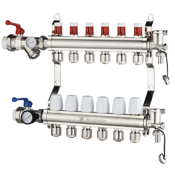 Латунь коллектор с короткими метр воздушных потоков для подогрев пола коллектор