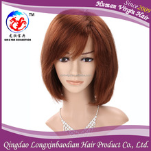 Womens hairstyles Brazilian Remy With Bangs,Brown Color Bob Style Brazilian Human hair Full Lace Wig