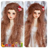3'' Long Rosewood Brown Handmade American girl sheepskin Doll Hair Wigs