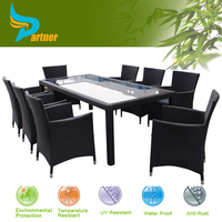 Extendable Hot All Weather Fashion Outdoor Furniture Rattan Cube Finger Joint Restaurant Dining Table Chairs