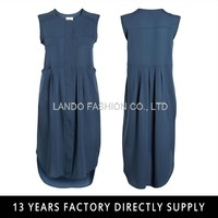 Fashion Lady Sleeveless navy blue women smart casual dress