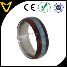 Alibaba Wholesale Fashion Turquoise Jewelry Wedding Ring, Titanium and Ruby Redwood Wedding Band, Waterproof Ring Armor Included