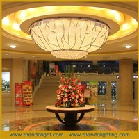 custom-made Bigest hotel decorate oval clear crystal lamps chandelier and ceiling light