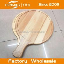 Tsingbuy Round Wood Pizza Board/Pizza Peel/Paddle Cutting Board