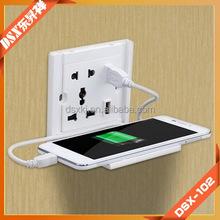 USB Wall socket with Mobile phone holder,Five hole socket,2*USB outpu:DC 5.0V/2400mA