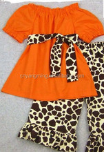 Baby Girl Halloween Outfit - Candy Corn Sweetie personalized onesie leopard full pant and Over The Top yellow and orange