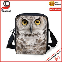 Animal Owl Pattern Girl Handbag Messenger Sling Cross Body Sport Bag for Women