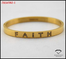 high quality fashion faith real gold plated stainless steel bangle