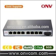 ONV POE IEEE802.3af , 9 Port PoE switch for IP Camera with 1 Uplink Fiber Port