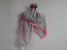 Solid pashmina tassels ball scarf girl shawl in summer and spring soft scarf macrame Hijabs Jilbabs scarf for girl and women