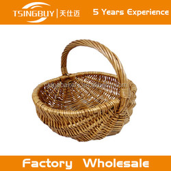 Hot factory 100% pure handcraft natural rattan wicker bread basket/handmade willow storge baskets/wholesale hanging wicker fruit