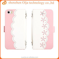 Korea style sweet pu leather case for iphone 5, flip card cover case for iphone 5s