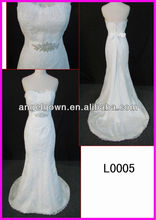 L0005 mermaid beading lace with a little trail bridal dress