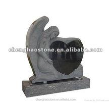 Shanxi Black Granite Tombstone/Angel And Heart Headstone