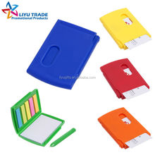 Promotion plastic memo box with pen,sticky notes and card holder