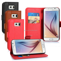 Fashion Lichee Pattern Magnetic Folio book PU Leather Case Card Holder mobile Phone Cover case For Samsung Galaxy S6 G9200