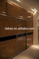 Wood grain bedroom wardrobe sliding door design