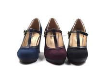 Fashion women high heels black the matte velvet straps single shoes, wedding shoes thick heel