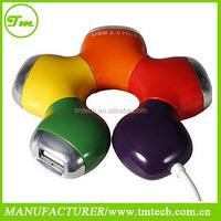 New HQ Multi Color Flower Rotatable 4 Port USB Hub High Speed Slot Hub