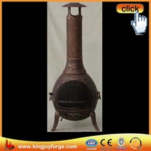 Wood burning antique outdoor cap chiminea cast iron, 50-inch, copper