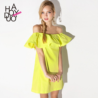 HAODUOYI Women Sexy Slash Neck Mini Dresses Ruffle off Shoulder Dress for Wholesale