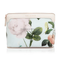 Lovely Mishely Rose Print PVC Cosmetic Case with Leather Trim