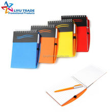 wave pattern plastic cover spiral notebook with pen