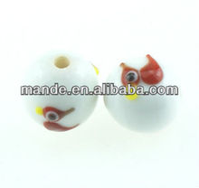 Bead, Handmade Bead, Handmade Lampwork glass, red and white adorable Santa Claus snow ball holiday