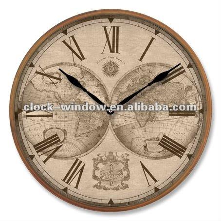 Mapa mapa del mundo antiguo reloj de pared